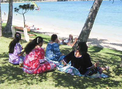 Women from the islands of Wallas and Futuna enjoying Anse Vata beach