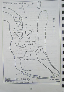 Dorothy's sketch showing the route of the charter boats into Baie de Ugo (Oro)