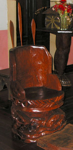 Carved wooden chair at the church in Vao