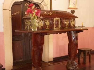 Carved wooden allter in the church at Vao