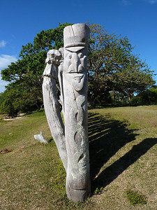 Traditional carved poles at St. Maurice.