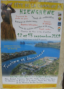 Advertisment for a festival in Hienghene, including big game fishing, helicopter baptisms, green plant artistry and much more.