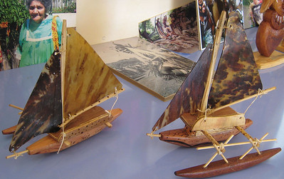 I am afraid t hat these model outrigger canoes have sails made of sea turtle shell.