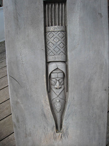 Carving on one of the seats, followed a motif we have seen on Kunie ridge poles.