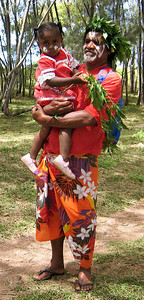 A Kunie dancer and his daughter