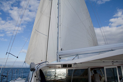 At 0730 we were sailing jib and reacher downwind in 10kn true wind. Lovely, easy sailing enroute to Heinghene.