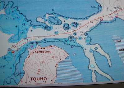 ADAGIO's route into Touho. The boat symbol shows where we anchored.
