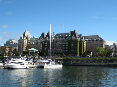 ADAGIO berthed at the foot of the Empress Hotel, Victoria