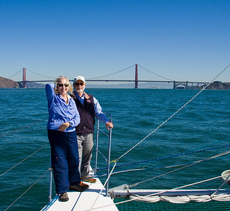 Dorothy and Steve approaching the Golden Gate Bridge