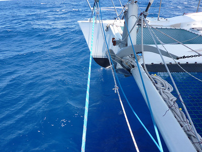 Ian Turnbull snapped this photo of ADAGIO's starboard bow knifing through the blue Pacific.