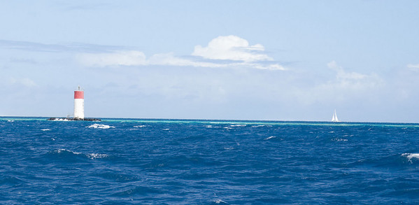 The thin, light blue line marks the location of the reef at Amadee Light.