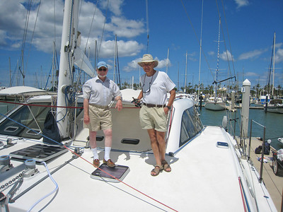Steve and Shaun on the foredeck at Ko Olina.  Welcome to Hawaii!