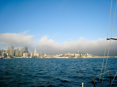"At 0600 June 30 we set sail for Hawaii from Alameda. An hour later fog began to appear over the city as steered out the ""Gate""."