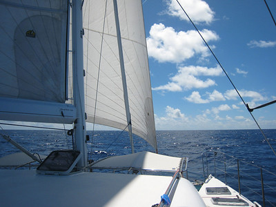 Beautiful sailing under reacher and full mainsail. We're doing 9 to 10kn in 20kn TWS 165 TWA.
