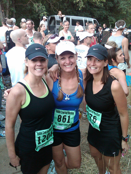 Hobblecreek Half Marathon race beginning--Kathryn Morrill, Jenn and Brandi Black.