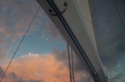 Day 4: Full moon under the boom at sea