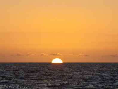 Day 7: Sunrise over the Great Barrier Reef - with an unusually clear horizon.