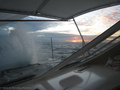 Day 1: the bigger beam seas are coating ADAGIO with salt - the price of sailing at 10-12kn in the 23kn TWS (true wind speed)
