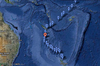 """ADAGIO's route from NZ to Newcal as reported to Yotreps. The report """"pins"""" shown approaching Newcal from the NE reflect our 2009 passage from Hawaii to New Caledonia."""