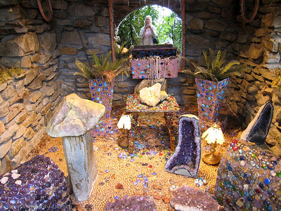 Amethist quartz geodes on display in the treasure room.