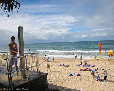 Showers are plentiful along the beach at Mooloolaba.