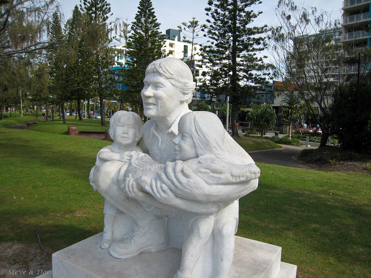 Memorial sculpture for the late Steve Irwin, the Crocodile Hunter, and his two children. Mooloolaba was his home.
