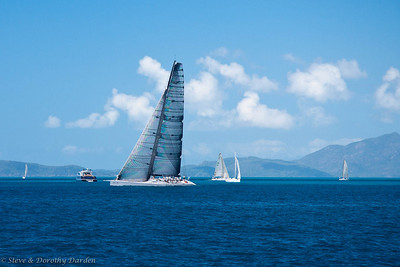 98-ft LAHANA in prestart maneuvers at Hamilton Island Race Week.