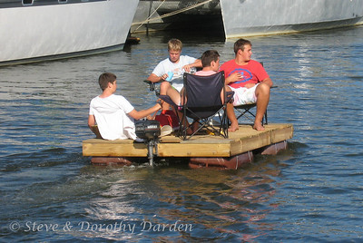 Boys on a bock cruising in the channel