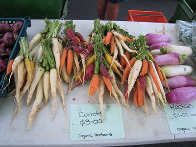 Multi-color heirloom carrots at the Farmers' Market in Whangarei