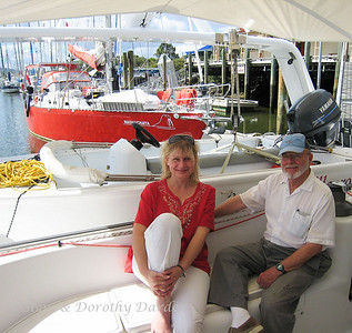 Our Polish friend Mazema with Steve.  The red boat in the background, s/v NASHACHATA, was chartered by her and five friends.