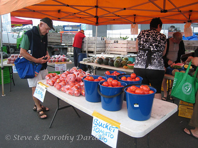 Tomatoes by the bucket-load at the Farmers' Market in Whangarei