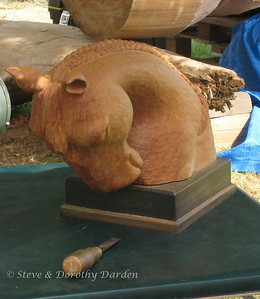 """Chestnut Velvet"" carved from Macrocarpa wood by Denise Marshall"