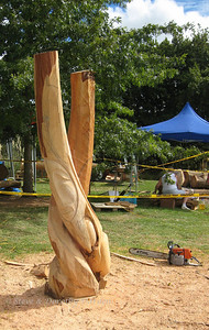 """Will Ngakura's """"The Last Embrace"""" was initially roughed out with a chain saw."""