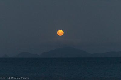 Moon rise over Cape Brett at Te Pahi Islands