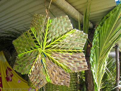 Woven coconut palm fronds