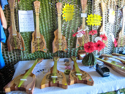 Hand made traditional ukeleles were for sale.