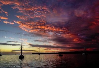 Sunset from aboard MANGO MOON in Baie de Kuto