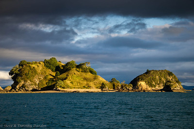 Te Pahi Islands illuminated by the setting sun