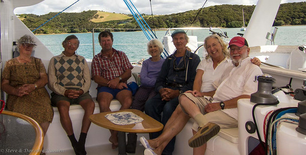 Nancy, John and Ken Wood, Jane and Shelly DeRidder, Dorothy ad Steve, aboard ADAGIO