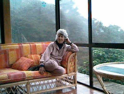Jane DeRidder at our Te Wahapu house, sun room conservatory