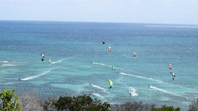 Kite boarders below Ouen Toro