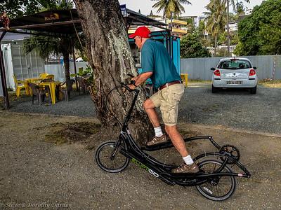 Joe tries out an Elliptigo bicycle