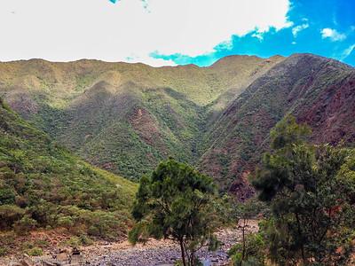 Beautiful mountain range overlooking the Dumbea River