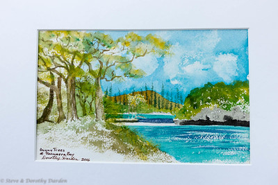 Dorothy's watercolor painting of Kanumera Bay