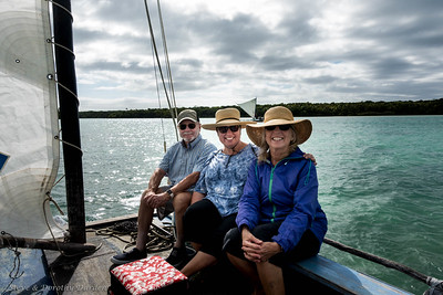 Steve, Kim and Dorothy Pirogue sailing in Upi Bay