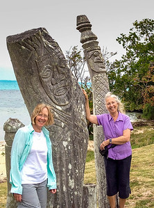 Dianne and Dorothy with the wood carvings at Baie St Maurice