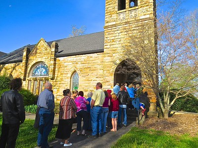 Families waiting for the doors to open for food distribution on a recent Saturday at Morton Memorial United Methodist Church in Monteagle