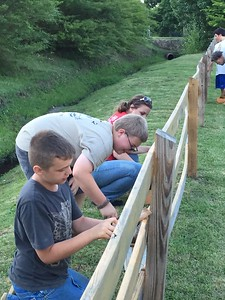 The Boy Scout Troop 12 put in volunteer service hours working at Monteagle Elementary School