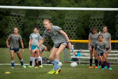 Sarah Grace Burns and her teammates at a recent soccer practice