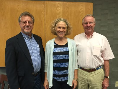 New club members Michael Cimino-Hurt, left, and Eric Greenwood,right, are pictured with new Monteagle Sewanee Rotary Club president, Lynn Cimino-Hurt